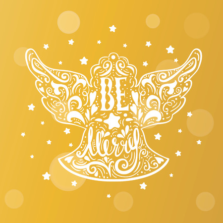 Be Marry- Silhouette of a Christmas Angel with unique lettering. Hand drawn design element for Holiday. Christmas vector greeting card on blurred background with bokeh effect