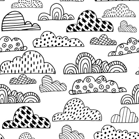 white clouds: Seamless pattern with doodle clouds. Black and white hand drawn clouds. Vector Illustration