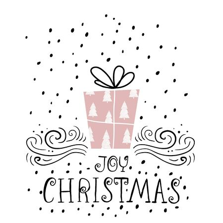 x mass: Joy Christmas trendy design greeting card. Holiday winter template with handwritten lettering . X mass vector background with gift