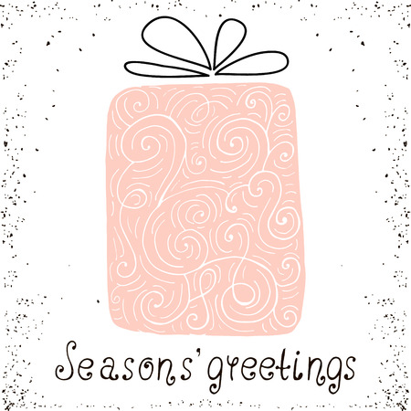 whorl: Best wishes. Christmas trendy design greeting card. Holiday winter template with handwritten lettering . X mass vector background with gift Illustration