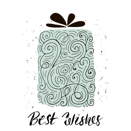 x mass: Best wishes. Christmas trendy design greeting card. Holiday winter template with handwritten lettering . X mass vector background with gift Illustration