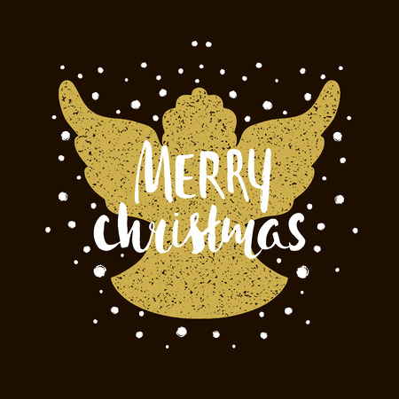 Marry Christmas- Silhouette of a Christmas Angel with unique lettering. Hand drawn design element for Holiday. Christmas vector greeting card.