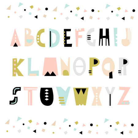 Trendy unusual geometric alphabet. Abstract geometry alphabet. Hipster alphabet. Vector Illustration Çizim
