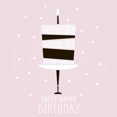 gâteau rose mignon à souhait de joyeux anniversaire. Moderne modèle de carte de voeux. Creative fond joyeux anniversaire. Vector Illustration