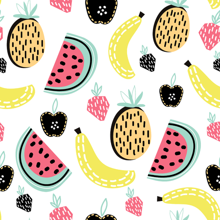 Modern fruit seamless pattern. Great for kids fabric, textile, etc. Vector Illustration