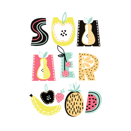 Summer text with cute hand drawn summer fruit. Banana, apple, watermelon,pineapple, strawberry isolated. Kids t-shirt print. Vector Illustration