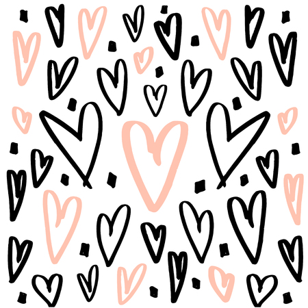 expressive: Hearts background made with brush. Expressive romantic hand drawn hearts. Vector Illustration Illustration
