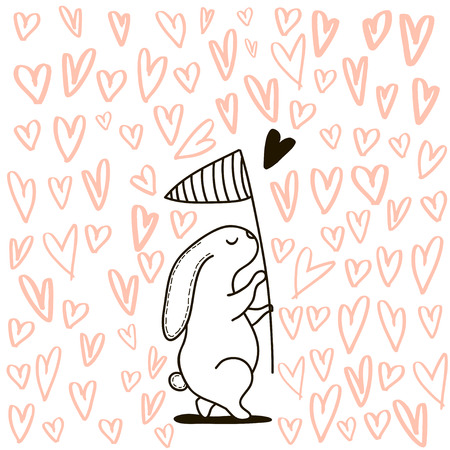 Cute hand drawn Rabbit catching heart with scoop-net.It can be used as a print, card, postcard. Romantic template for Valentines day.Vector Illustration