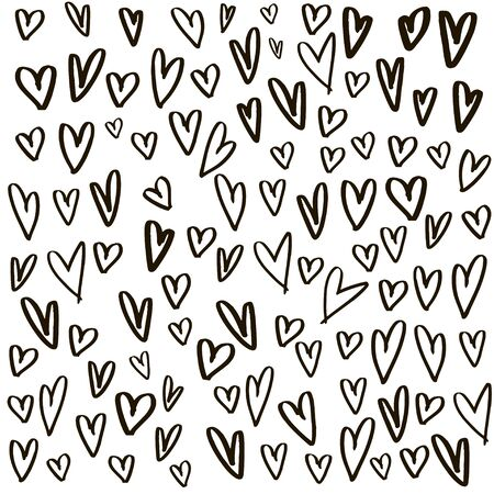 Hearts background made with brush. Expressive romantic hand drawn hearts. Vector Illustration.