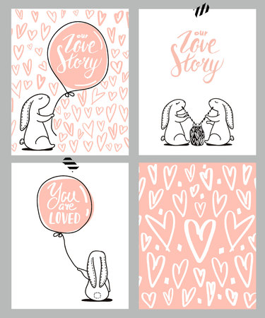 Romantic cards set. Four Valentines day cards with cute Rabbit and hearts. Vector Illustration Ilustração
