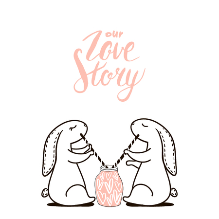 Cute hand drawn Rabbit drinks love cocktail. Background for wedding, save the date, Valentines Day, etc. Vector Illustration Illusztráció