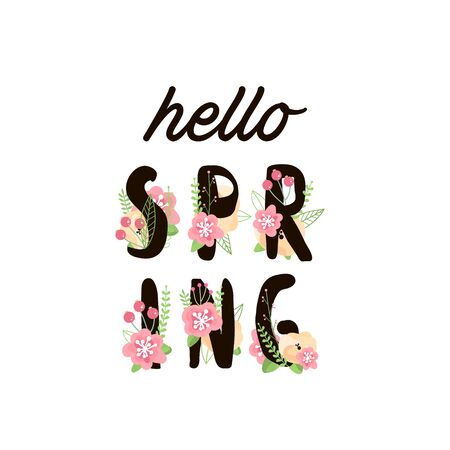 pale color: Hello Spring Letter Decorating with flowers. Vector Illustration