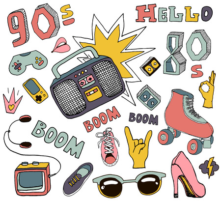 Hello 80s,90s. Retro elements,boombox,cassete, rollers, glasses,Cassette Player,gumshoes.Vector Illustration