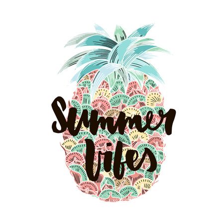 Summer vibes hand written lettering for poster, card, photo overlay. Brush texture. Isolated on white background. Vector illustration.