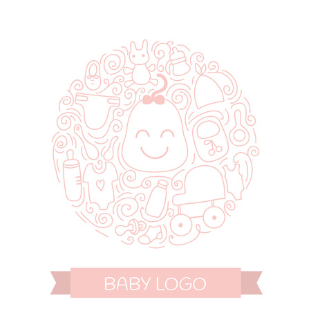 Baby care elements in circle design. Vector Baby concept with items for child - pacifier, stroller, clothing, bottle and other . Isolated on white background.
