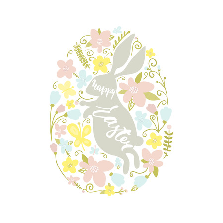 Happy Easter text. Easter rabbit and floral elements inside egg shaped. Greeting Easter background with Cute rabbit. Vector Illustration