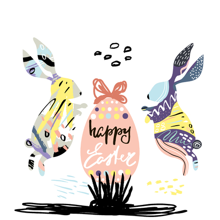 Happy Easter creative card with hand drawn textures. Easter background with rabbits and egg. Easter Vector greeting card.