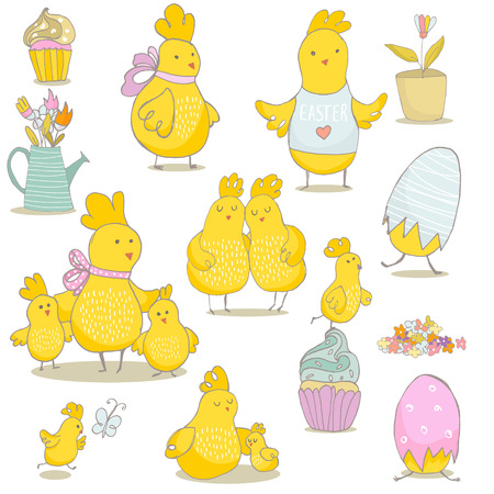 Spring and Easter clip art. Mommy with chicken, eggs, cupcakes, watering can. Cute Chicks isolated. Hand drawn vector Illustration