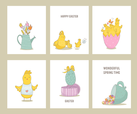 Set of premade Easter cards with hand drawn chiks and spring elements. Cute hand sketched chiks. Vector Illustration Illustration