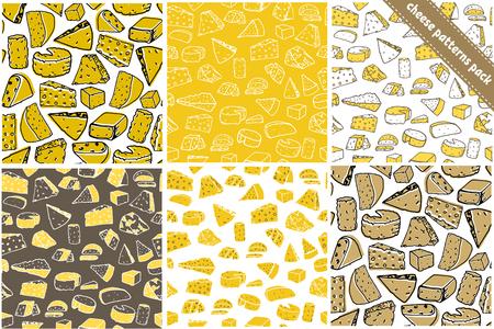 6 チーズ シームレス パターンのセットです。チーズ ベクトル手描きのテクスチャ