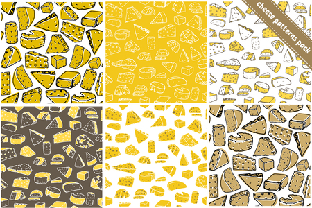 Set of six cheese seamless pattern. Cheese vector hand drawn texture Illustration