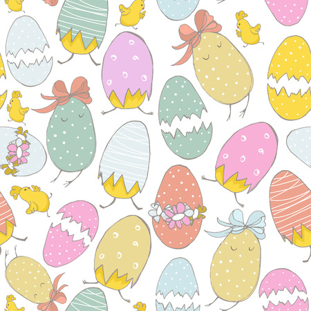 Seamless pattern with cute hand drawn chicks. Easter theme texture. Easter Spring background with flowers and eggs. Vector Background
