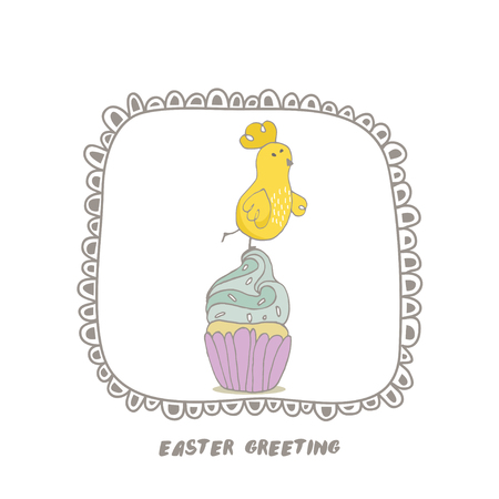 Happy Easter greeting background with cute chick on cupcake. Hand drawn vector Illustration. Stock Vector - 74728476