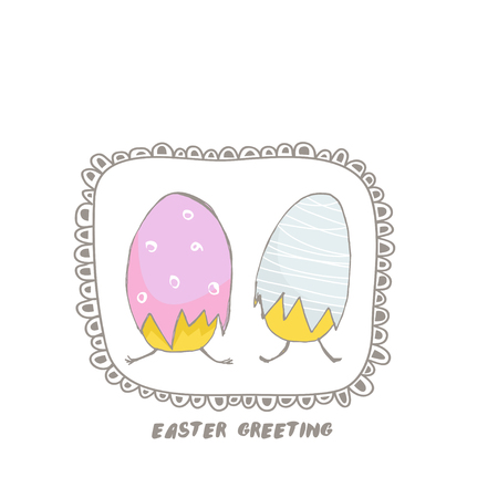 Easter greeting background with two hand drawn cute eggs. Vactor Illustration Illustration