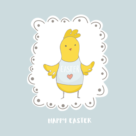 Happy Easter greeting background with cute chick character. Hand drawn vector Illustration.