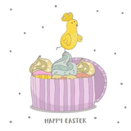 Happy Easter greeting background with cute two chicks friend in frame. Hand drawn vector Illustration.