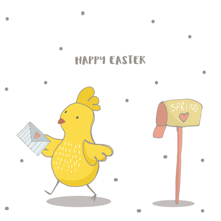 Happy Easter greeting background with cute chick with Love letter. Hand drawn vector Illustration. Illustration