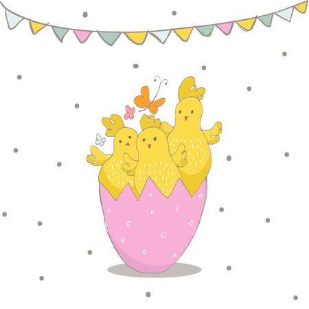 Happy Easter greeting background with cute chicks in egg. Hand drawn vector Illustration.