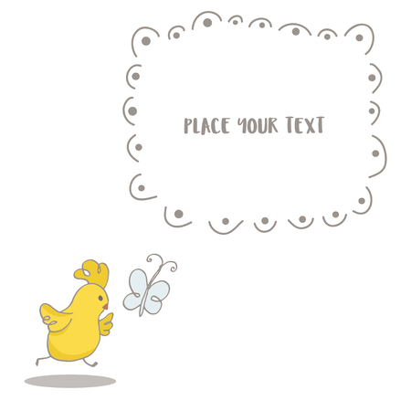 Easter greeting background with cute little Chicken chasing a butterfly. Text place in frame. Hand drawn vector Illustration.