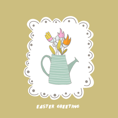 Easter greeting background with watering can and flowers. Hand drawn vector Illustration.