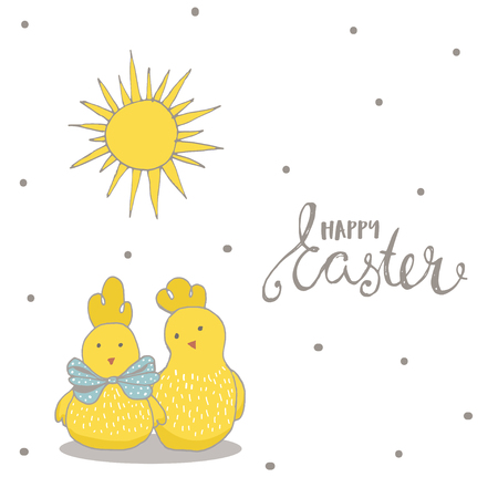 Happy Easter greeting background with cute two chicks. Hand drawn vector Illustration. Stock Vector - 74728493