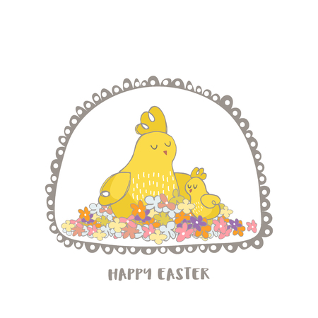 Happy Easter greeting background with cute Mommy chicken and little chicks. Hand drawn vector Illustration. Illustration