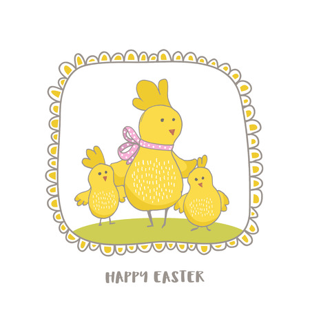 Happy Easter greeting background with cute Mommy chicken and little chicks. Hand drawn vector Illustration.