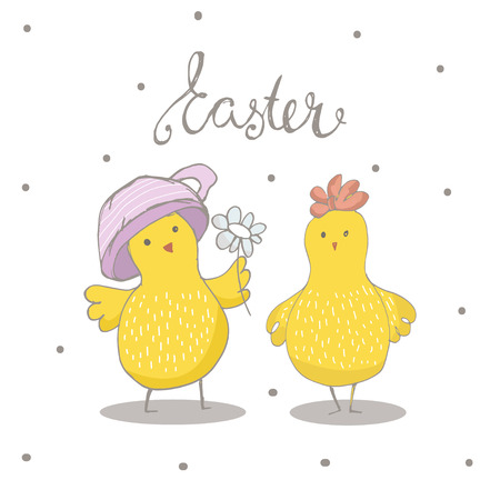 Happy Easter greeting background with cute two chicks. Hand drawn vector Illustration.