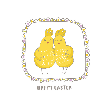 Happy Easter greeting background with cute two chicks friend in frame. Hand drawn vector Illustration. Stock Vector - 74728502