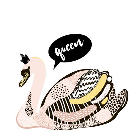 Artistieke zwaan met kroonontwerp. Creatieve zwaanafdrukken geïsoleerd. Het kan worden gebruikt voor mode, kleding, tas, woondecoratie. Vector illustratie