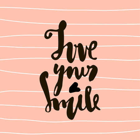 Love you smile hand lettering. Unique quote made with brush. It can be used for t-shirt print, bags, poster.Vector Illustration