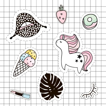 Fashion patches set. Lips,unicorn,palm branch,ice cream,lipstick,lips,lashes,eye,strawberry. Vector elements Çizim
