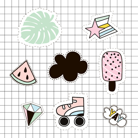 Fashion patches set. Lips,roller,,palm branch,ice cream,yay,lips,watermelon,cloud,diamond. Vector elements
