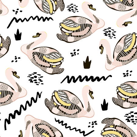 Seamless hand drawn pattern with creative swans. Reklamní fotografie - 77490774
