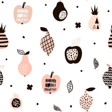 Nahtloses Muster mit kreativen modernen Früchten. Standard-Bild - 77581742