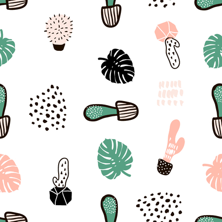 Seamless pattern with cactuses and hand drawn textures.