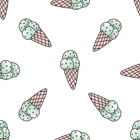ミントのアイスクリームとのシームレスなパターン。