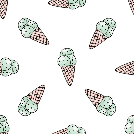 Seamless pattern with mint ice cream. Çizim