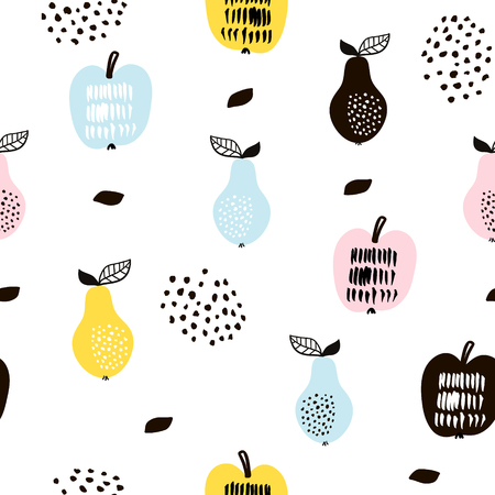 創造的なモダンな果物とのシームレスなパターン。  イラスト・ベクター素材