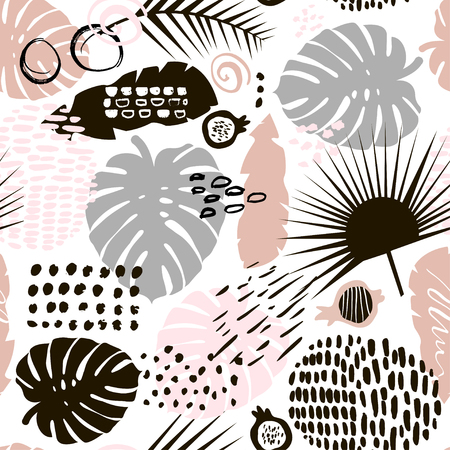 Palm branch trendy seamless pattern with hand drawn elements. 일러스트